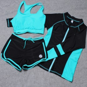 Baju Renang Wanita Long Sleeve Rash Guard Swimsuit Set Size L - Green