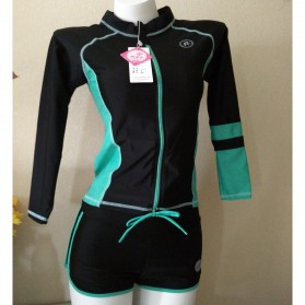 Baju Renang Wanita Long Sleeve Rash Guard Swimsuit Set Size L - Green - 2