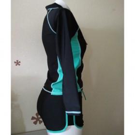 Baju Renang Wanita Long Sleeve Rash Guard Swimsuit Set Size L - Green - 3