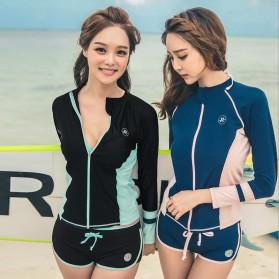 Baju Renang Wanita Long Sleeve Rash Guard Swimsuit Set Size L - Green - 6