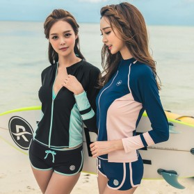 Baju Renang Wanita Long Sleeve Rash Guard Swimsuit Set Size L - Green - 7