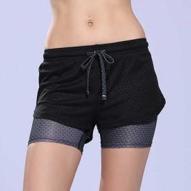 Celana Pendek Mesh Olahraga Wanita Tight Sport Fitness Running - Size L - Black