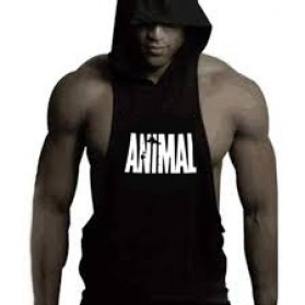Baju Hoodie Tank Top Pria Fitness Sleeveless - Size XXL - Black