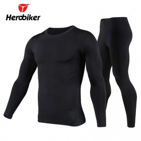 HeroBiker Baju Olahraga Pria Compression Longjohn Thermal Underwear Longjohn Size XL - Black - 1