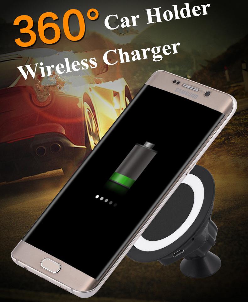 360 rotating car holder wireless charger for smartphone black. Black Bedroom Furniture Sets. Home Design Ideas