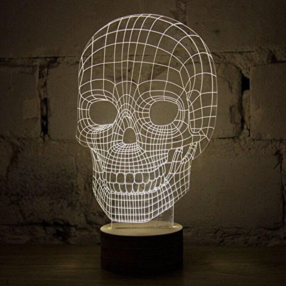 portable 3d illusion skull shape night lamp led lampu 3d