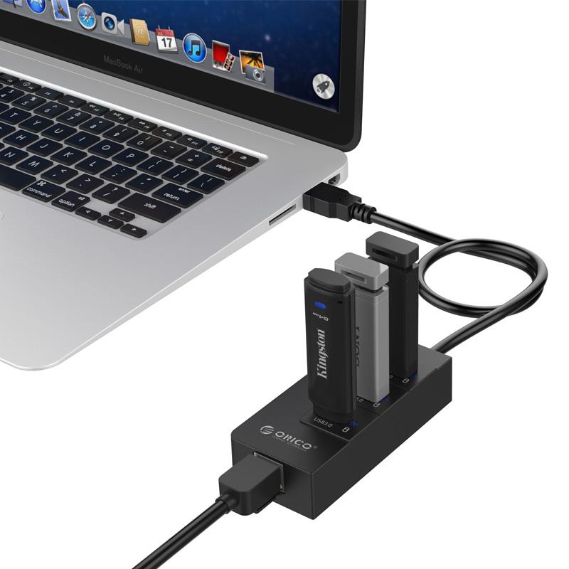 ... ORICO USB3.0 Hub with Gigabit LAN Ethernet Adapter - HR01-U3 - Black ...