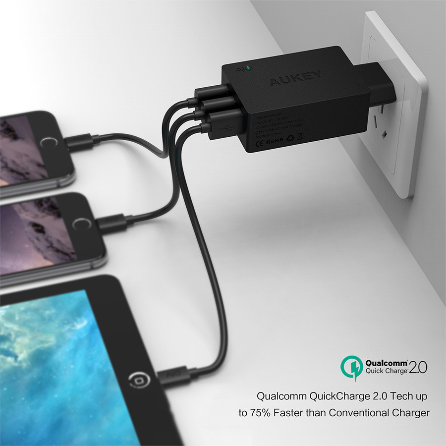 Aukey Charger Usb 3 Port Eu Plug 42w With Qc 20 Aipower Pa T2 Wall Ports 30w 5v 6a Tech Multi Charging Station Original