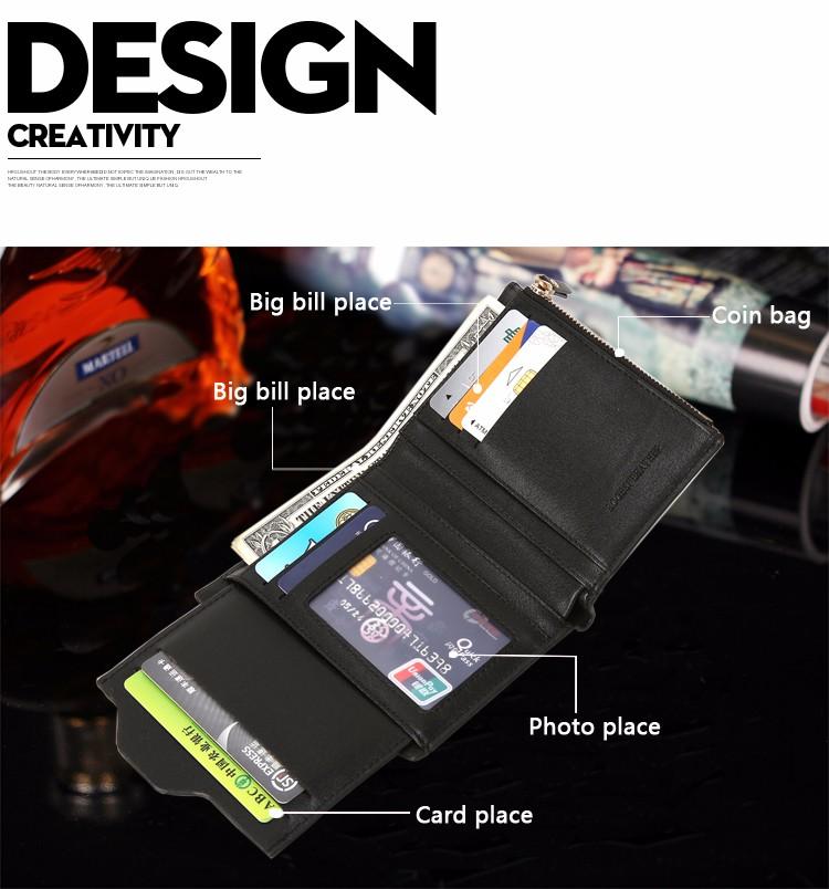 Anda dapat menyimpan uang kertas pada slot utama dompet dan uang logam pada bagian sisi dompet yang disertai dengan retsleting.