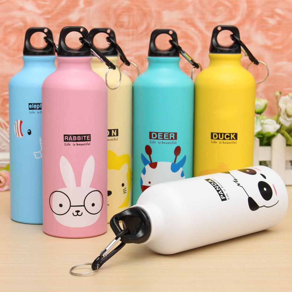 Botol Minum Kartun 500ml Dengan Karabiner Pink Aluminium 750ml 4