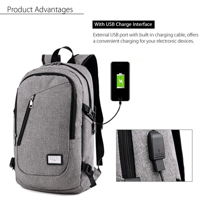 DXYIZU Tas Ransel dengan USB Charger Port - Black - JakartaNotebook.com 2af7b1ae9c
