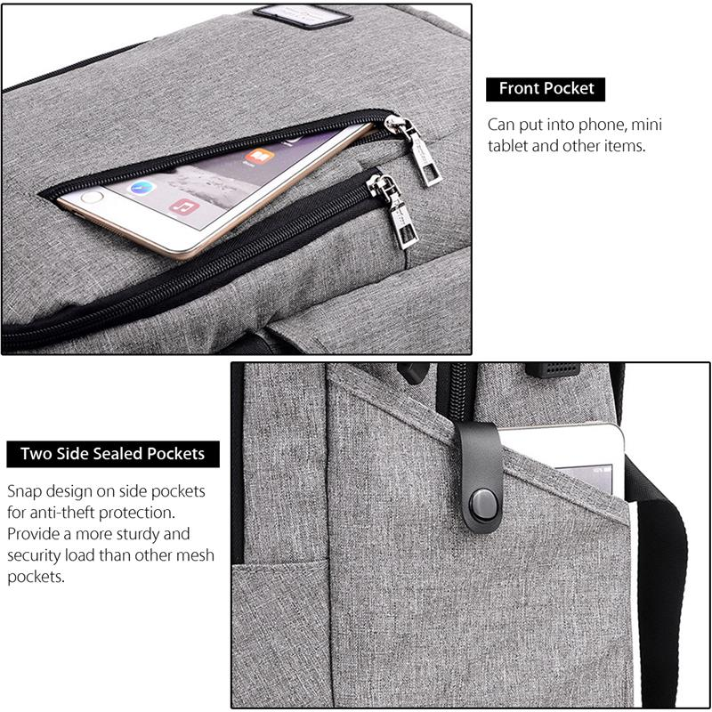 dxyizu tas ransel dengan usb charger port black. Black Bedroom Furniture Sets. Home Design Ideas