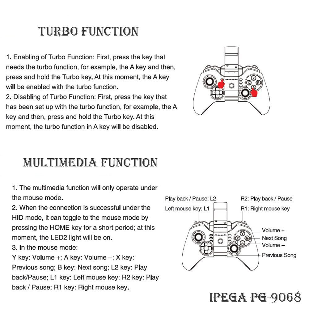 Ipega Tomahawk Bluetooth Gamepad Pg 9068 Black Stand Hp Handphone Mount Docking Aksesoris Model Paus  Kcr009 Package Contents
