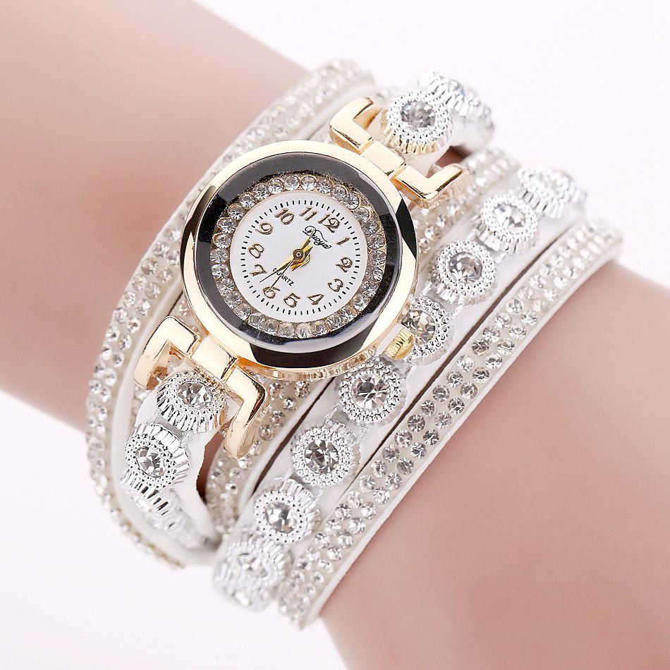 Jam Tangan Wanita Model Gelang Rhinestone - DY038 - Black