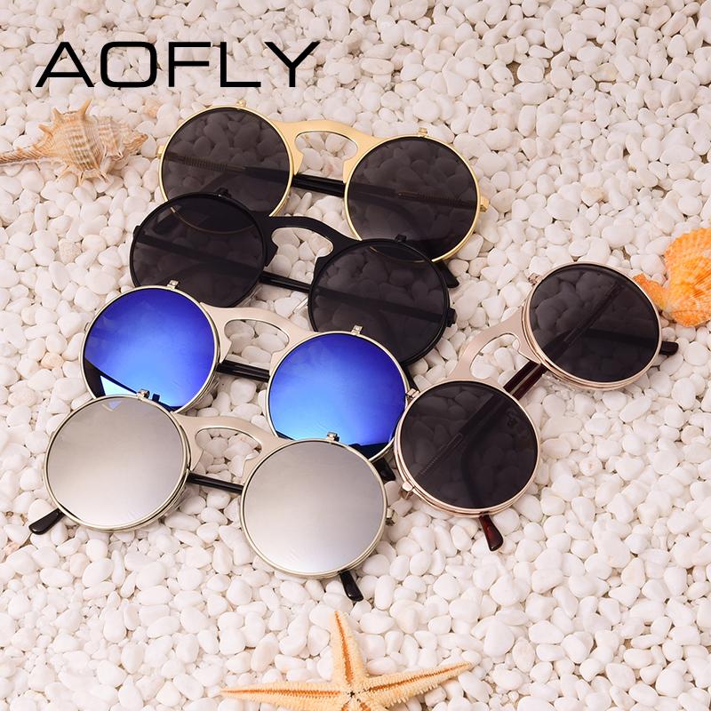 AOFLY Kacamata Hitam Round Vintage Steampunk Sunglasses - Black Black - 6  ... b66a5e839e