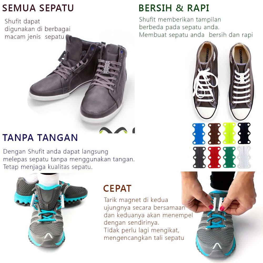 Overview of Tali Sepatu Magnet - HJ-0001. Universal Magnetic Sport Shoelaces  ... f190e538f6