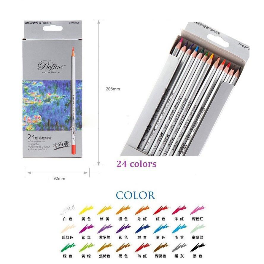 Marco Raffine pensil warna ini tersedia 24 warna yang dapat membantu Anda untuk mewarnai gambar 3D lukisan pensil gambar wajah dll