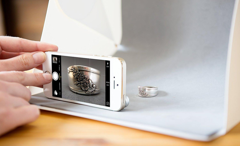 photo studio mini magnetic dengan lampu led size small white. Black Bedroom Furniture Sets. Home Design Ideas