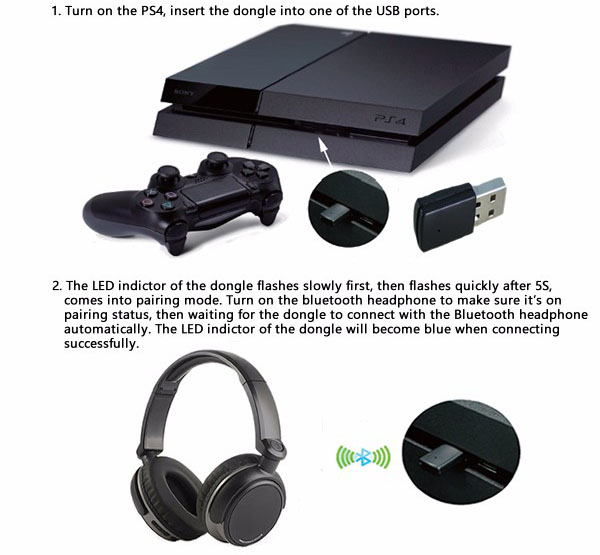 mini usb bluetooth dongle untuk playstation ps4 black. Black Bedroom Furniture Sets. Home Design Ideas