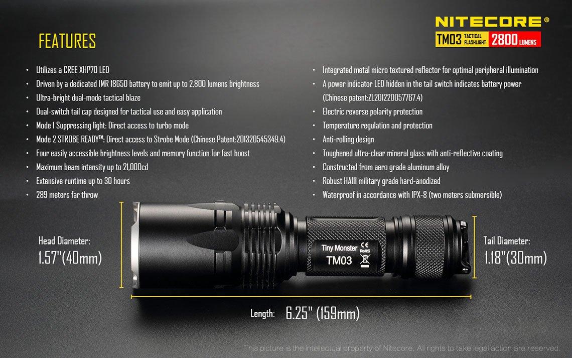 Nitecore Tm03 Tiny Monster Senter Led Cree Xhp70 2800 Lumens Black Baterai Mainan Aa2 Official Reseller Certificate