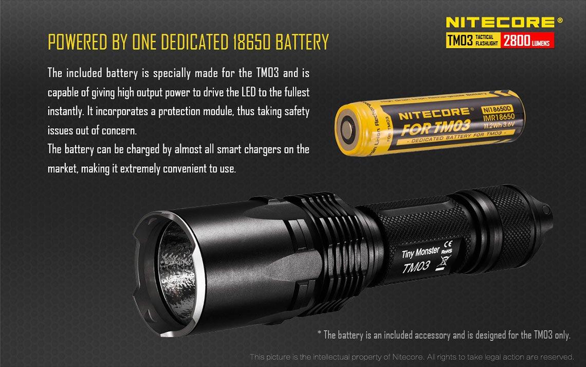 Nitecore Tm03 Tiny Monster Senter Led Cree Xhp70 2800 Lumens Black Baterai Mainan Aa2