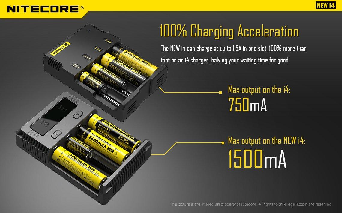 Nitecore Intellicharger Universal Battery Charger 4 Slot For Li Ion Peak Power 9v 200mah Rechargeable Cas Kotak New I4 Dapat Mengisi Daya Hingga 1000ma Setengah Lebih Besar Daripada Pendahulunya Sehingga Proses Pengisian Semakin Cepat Dan Tidak Memakan
