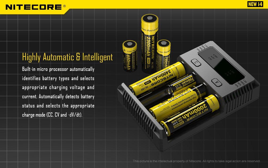 Nitecore Intellicharger Universal Battery Charger 4 Slot For Li Ion Peak Power 9v 200mah Rechargeable Cas Kotak New I4 Akan Otomatis Mendeteksi Baterai Yang Tidak Dapat Di Isi Ulang Dayanya Buah Lampu Led Menyala Bersamaan Pada Saat