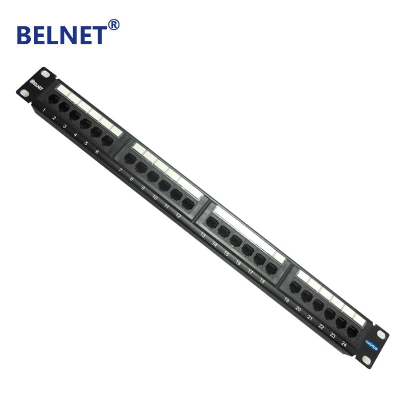 cat5e pro rj45 patch panel 24 port for 1u 19 inch server rack - black