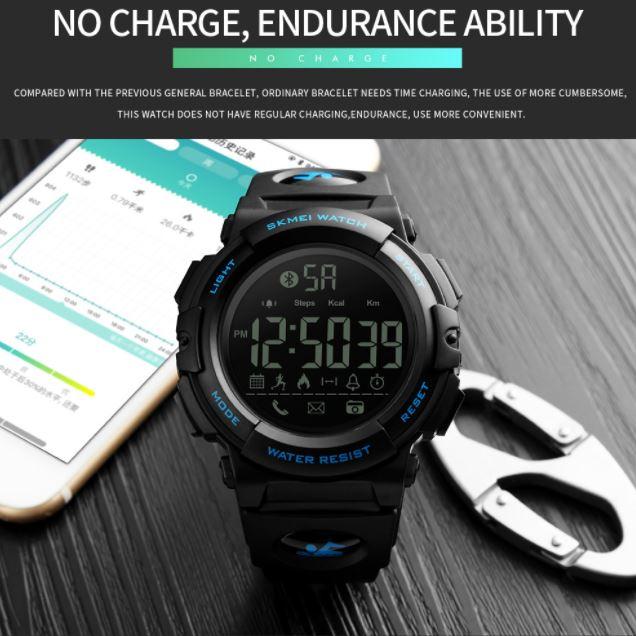 Bluetooth Smart Pria Olahraga Pedometer Kalori Jam Tangan Call Mengingatkan Fashion 50 M .