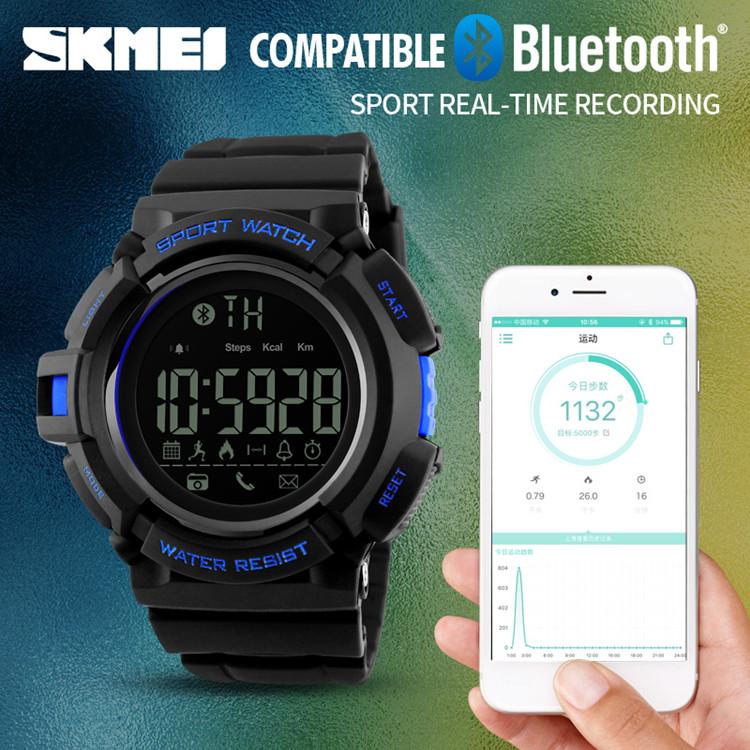 ... SKMEI Jam Tangan Olahraga Smartwatch Bluetooth - DG1245 BL - Black Blue - 5 ...