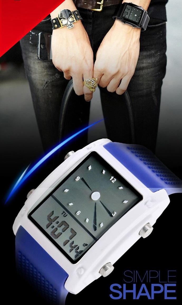 Skmei Jam Tangan Trendy Digital Analog Pria 0814g Black Silver Ad1016 Bagian Strap Waterproof Terbuat Dari Bahan Material Pu Yang Berkualitas Lentur Dan Tahan Untuk Penggunaan Dalam Jangka Waktu Lama