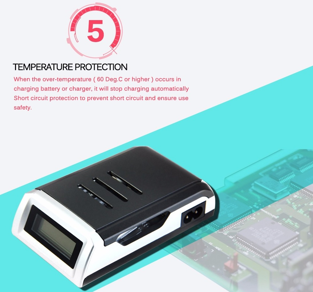 Taffware Smart Intelligent Lcd 4 Slot Charger Baterai For Aa Aaa Universal Laptop Vacuum Cooler Suhu Ketika Mencharger Sangat Stabil Karena Memiliki Desain Yang Dibuat Untuk Anti Panas Sehingga Menghindari Overheat Dapat Berbahaya Bagi