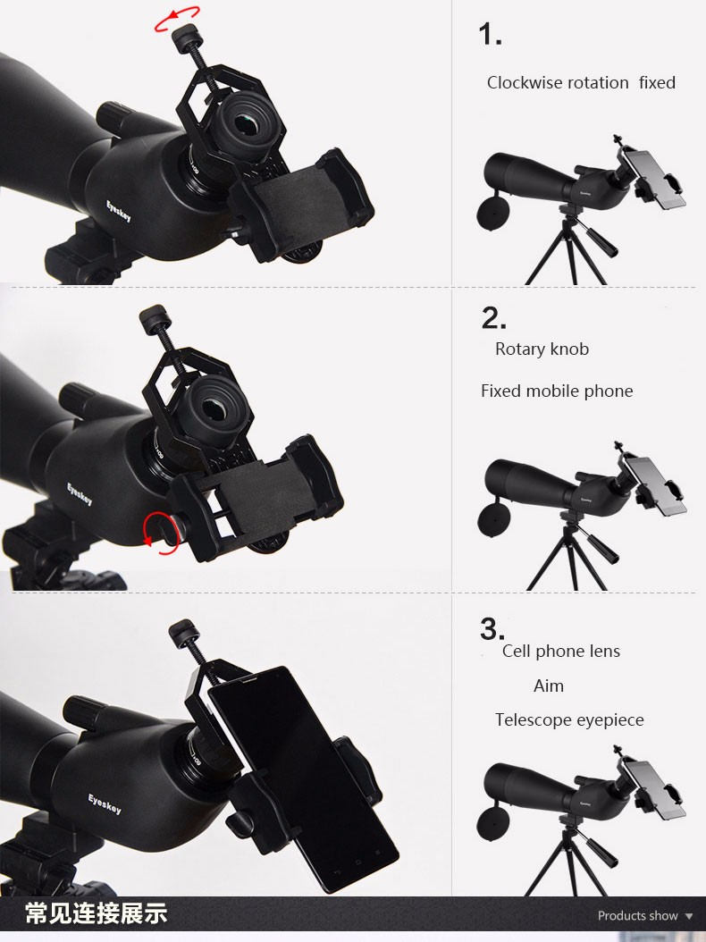 Smartphone Holder Untuk Teropong Binocular Monocular Telescope Cm4 16x52 Bagian Penyangga Dapat Diubah Diameternya Antara 25 Cm Hingga 48 Dengan Ini Anda Menggunakan Banyak Jenis Ke