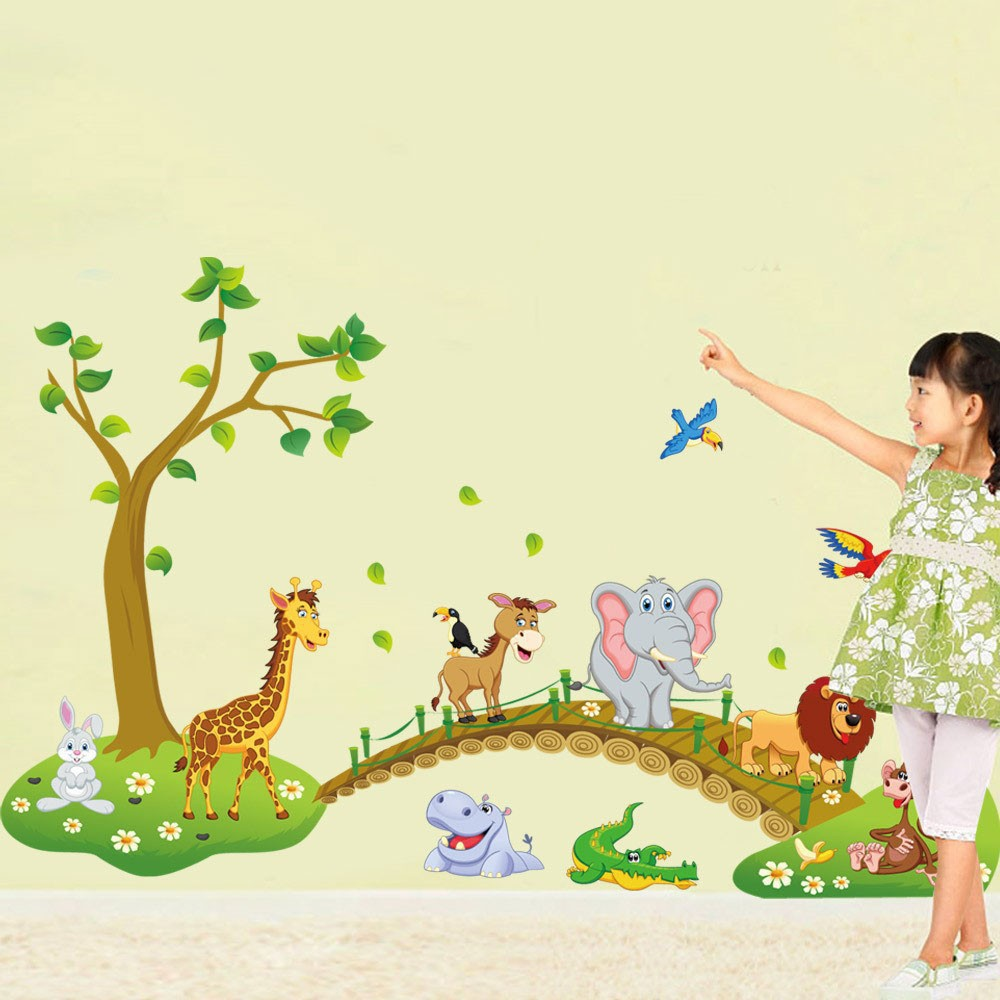 Sticker Dinding DIY Wallpaper Kids Cartoon Animal Multi Color
