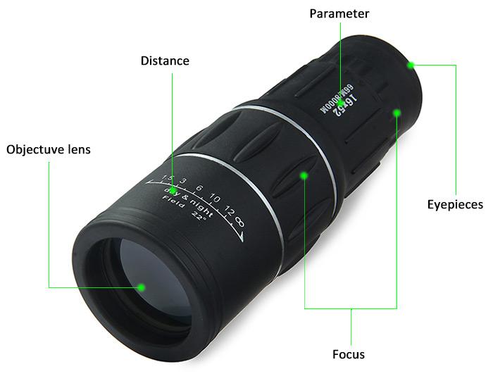 Bushnell teropong monokular 16x52 focus and zoom lens adjustable