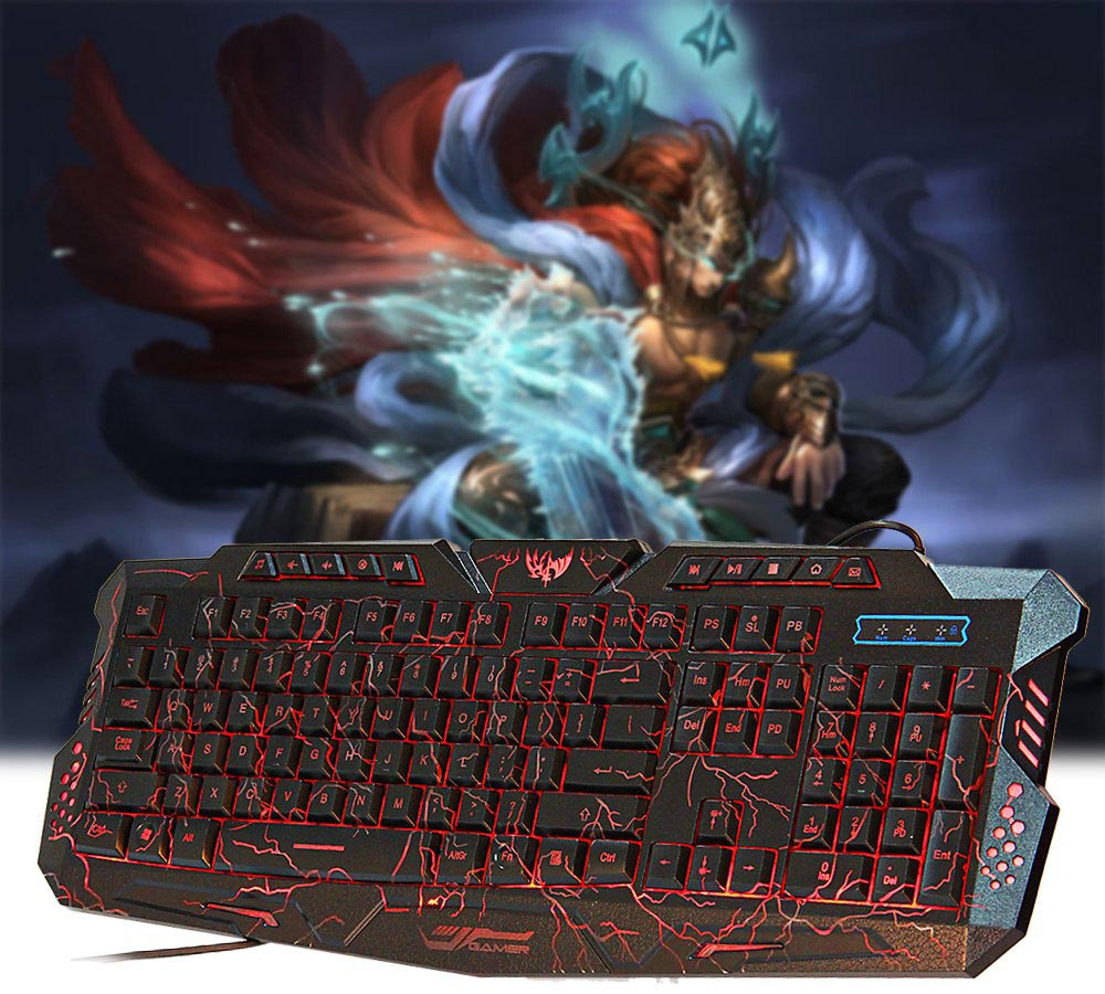 Usb Wired Gaming Keyboard With Led Backlight M 200 Black Stand Hp Handphone Mount Docking Aksesoris Model Paus  Kcr009