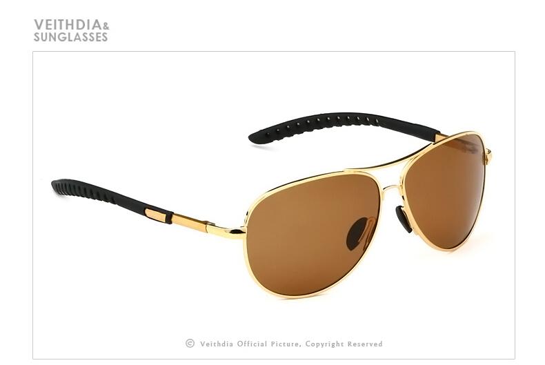 Veithdia Kacamata Aviator Polarized Sunglasses - Black