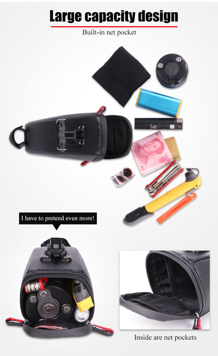 Wheel Up Tas Sepeda Waterproof Bag C15 Black Roswheel Sadel With Backlight Lampu Rem Malam Terdapat Ruang Yang Sangat Luas Untuk Menaruh Barang Anda Seperti Gadget Smartphone Powerbank Handuk Dll Easy Installation