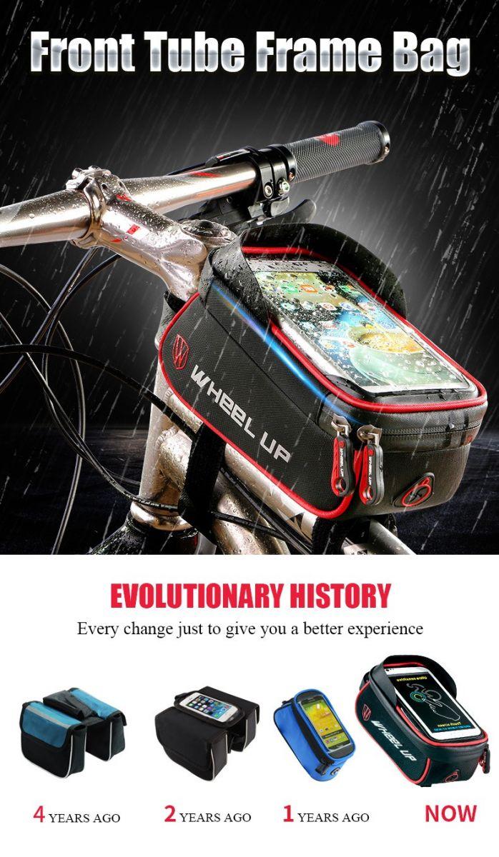 Holder sepeda anti air ini diletakkan pada bagian batang sepeda. Tas sepeda ini terbagi menjadi