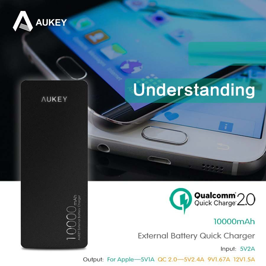 Aukey Power Bank 2 Port 24A 10000mAh QC20 Amp AiPower