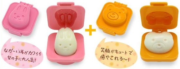 Overview of Cartoon Rabbit and Bear Egg Rice Cake Mold / Cetakan Telur