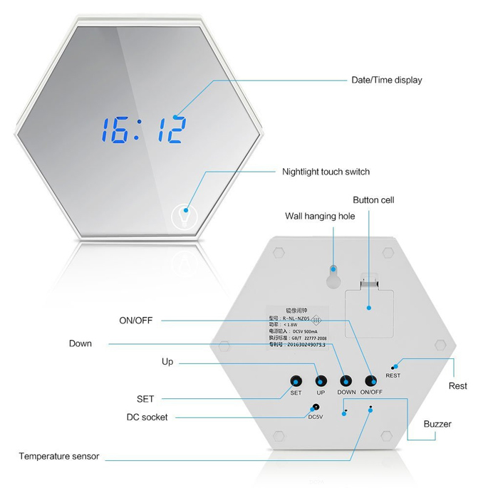 Cermin jam digital dengan alarm dan suhu golden jakartanotebook product detail ccuart Image collections