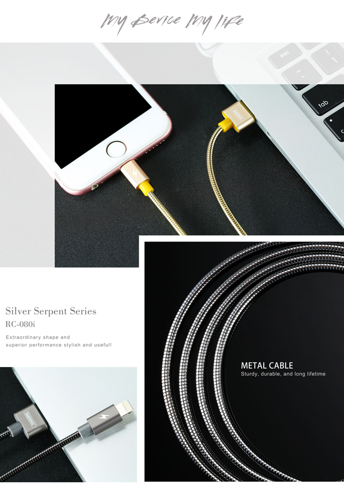 Remax Kabel Lightning Silver Serpent untuk iPhone - RC-080i