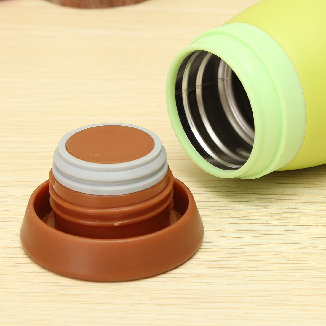 Colourful Cute Cartoon Thermos Insulated Mik Water Bottle 500ml Gelas Plastik Tutup Tumbler Colorfull Green