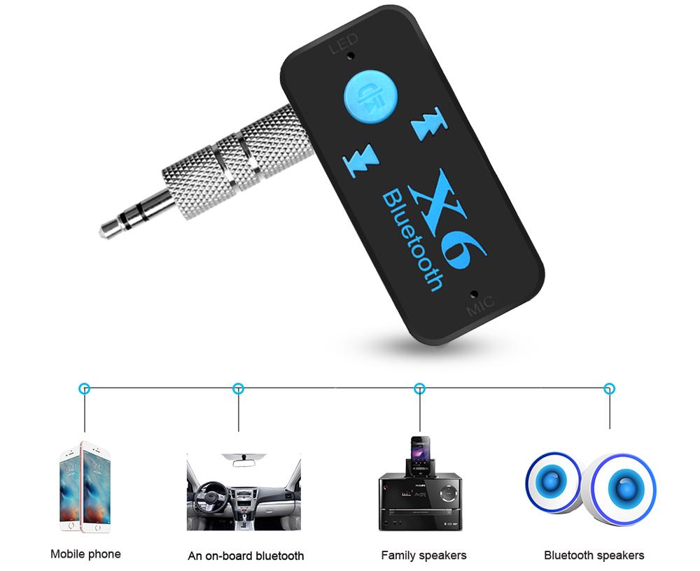 Bluetooth Aux Audio Receiver Mobil Hqx6 Black