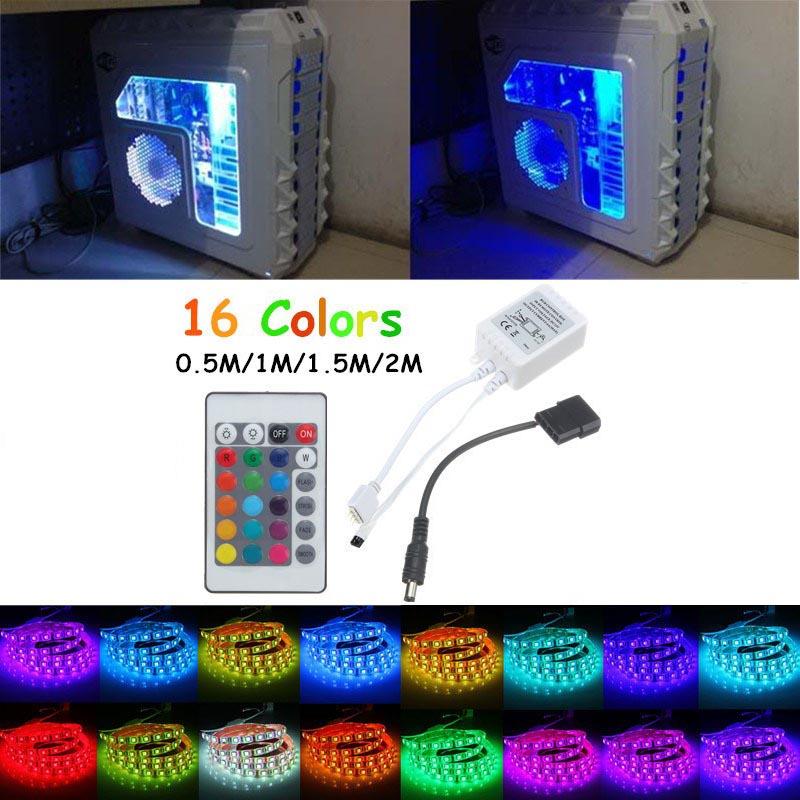 Lampu LED strip dengan LED RGB dengan panjang 1 meter. Dilengkapi remote controller untuk mengganti warna lampu sesuai keinginan Anda.