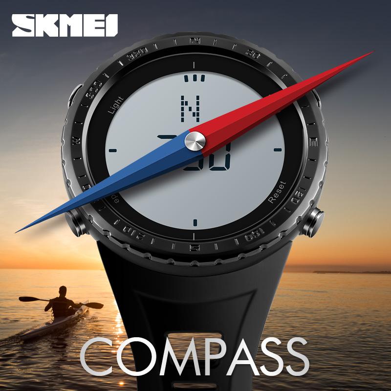 Skmei jam tangan digital pria kompas black