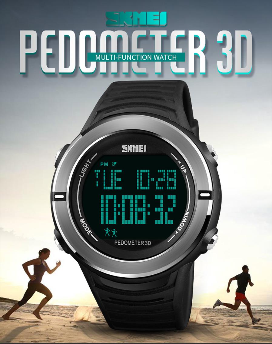Skmei jam tangan digital pria pedometer red