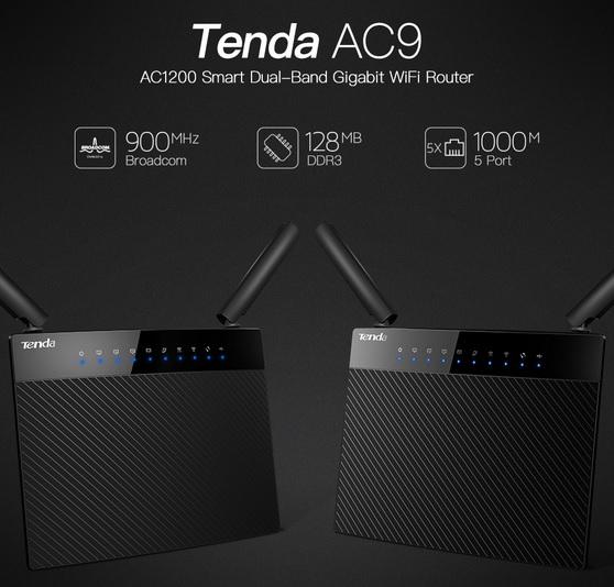 TENDA AC1200 Smart Dual-Band Gigabit WiFi Router - AC9