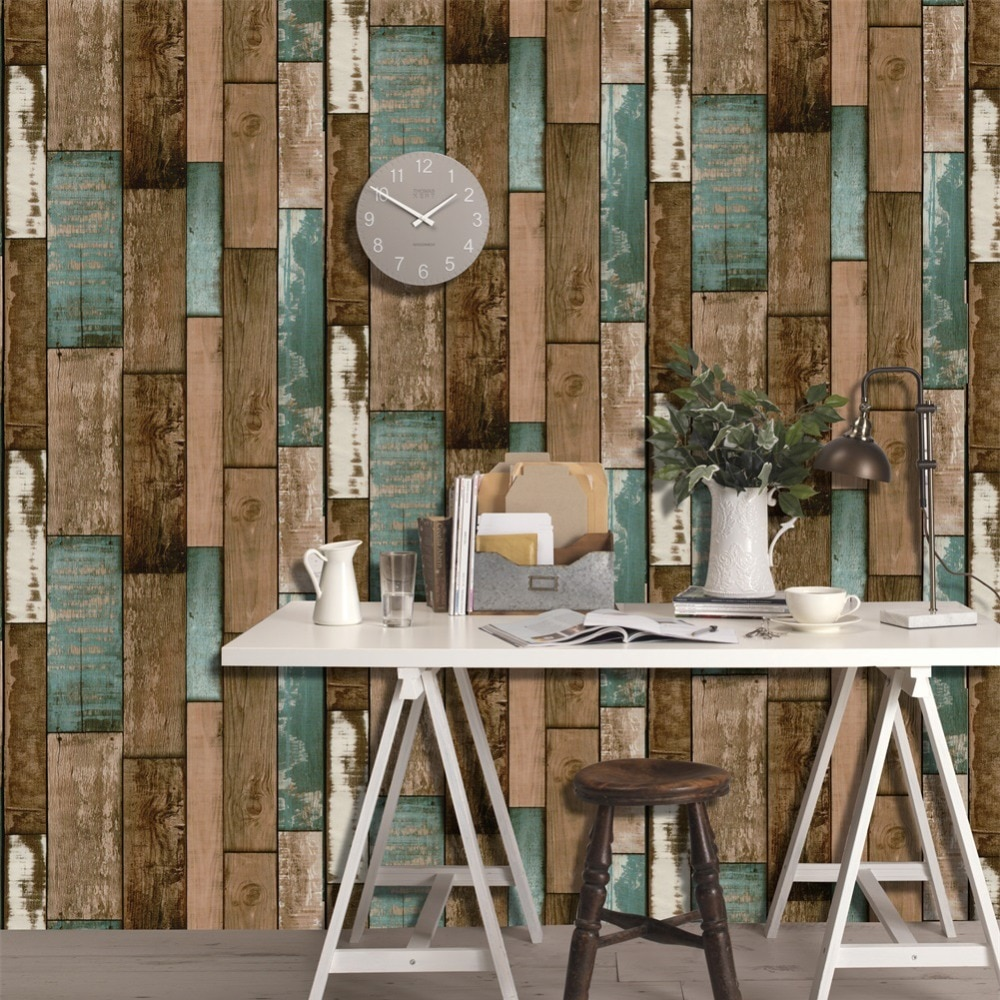 HaokHome Sticker Wallpaper Dinding 3D Vintage Wood Grain 70x70 Cm Yellowish Brown JakartaNotebook